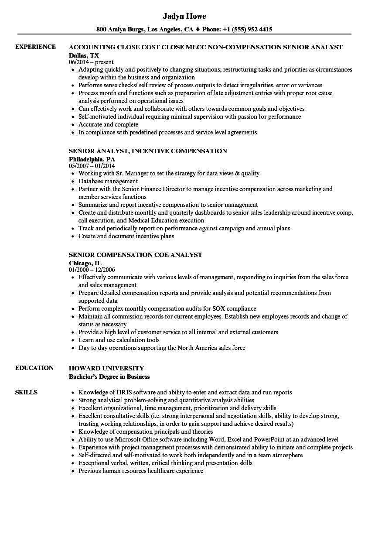 compensation analyst senior resume samples velvet jobs