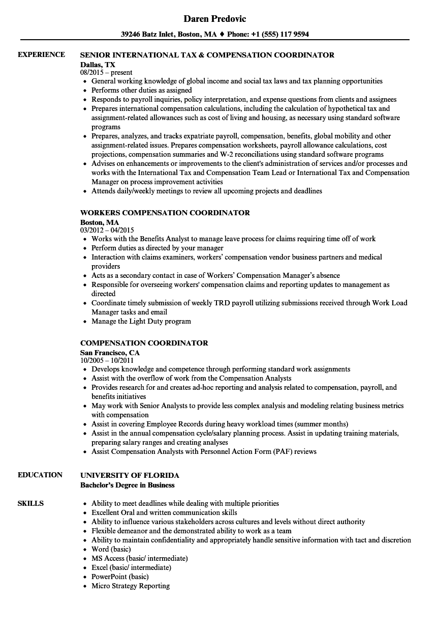Compensation Coordinator Resume Samples | Velvet Jobs