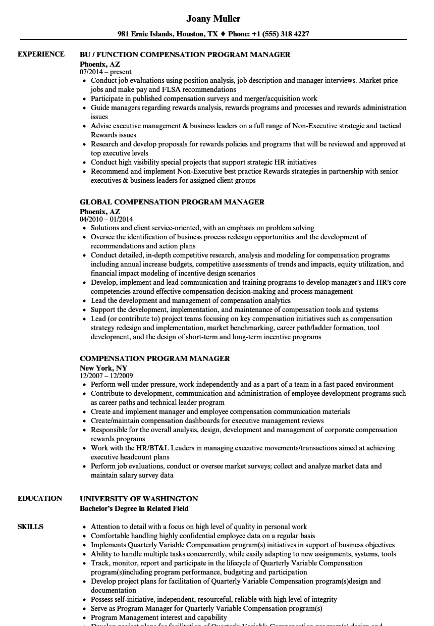 compensation program manager resume samples