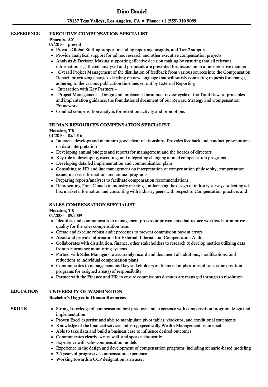 compensation specialist resume samples