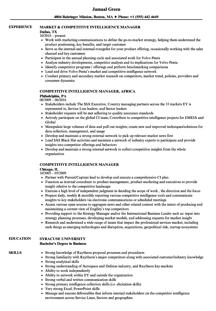 Competitive Intelligence Manager Resume Samples | Velvet Jobs