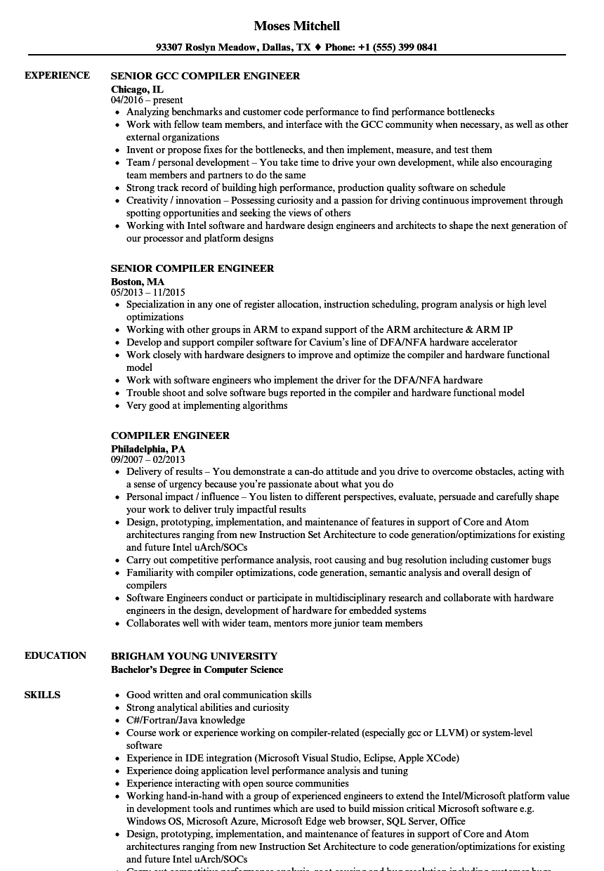 compiler engineer resume samples