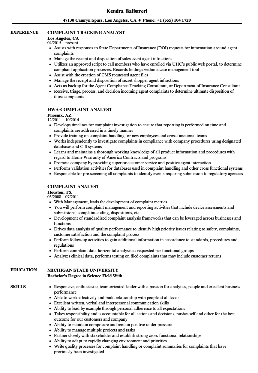 complaint analyst resume samples
