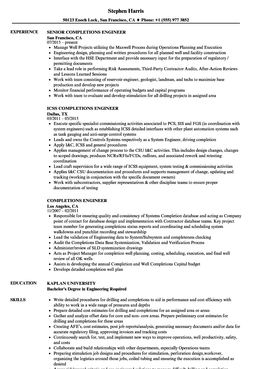 Completions Engineer Resume Samples | Velvet Jobs