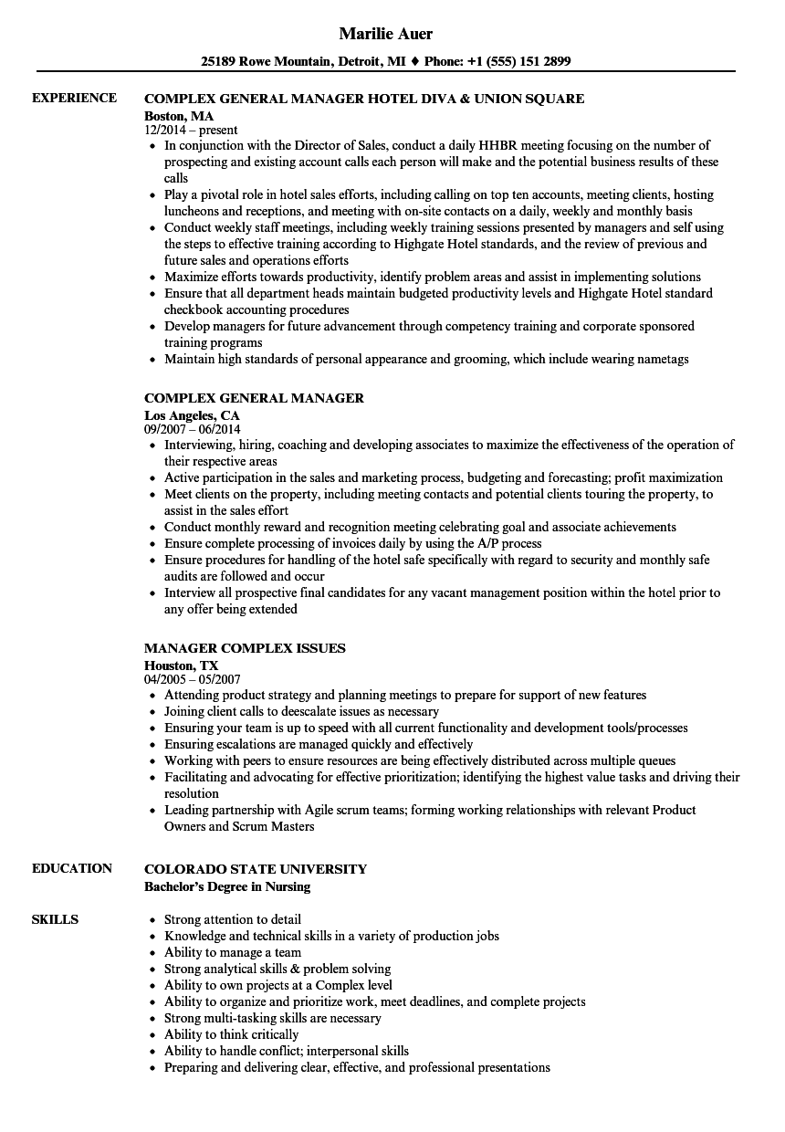 complex manager resume samples