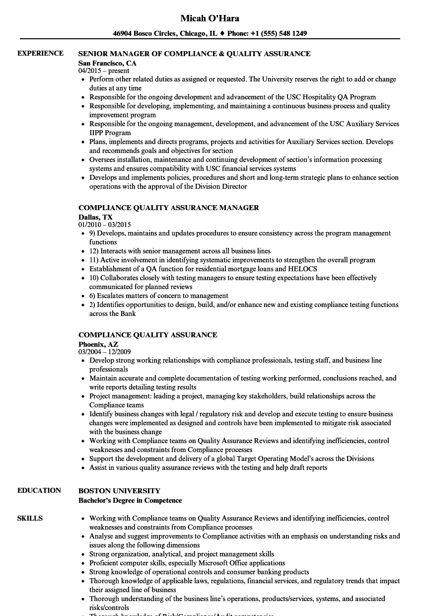 compliance quality assurance resume samples velvet jobs