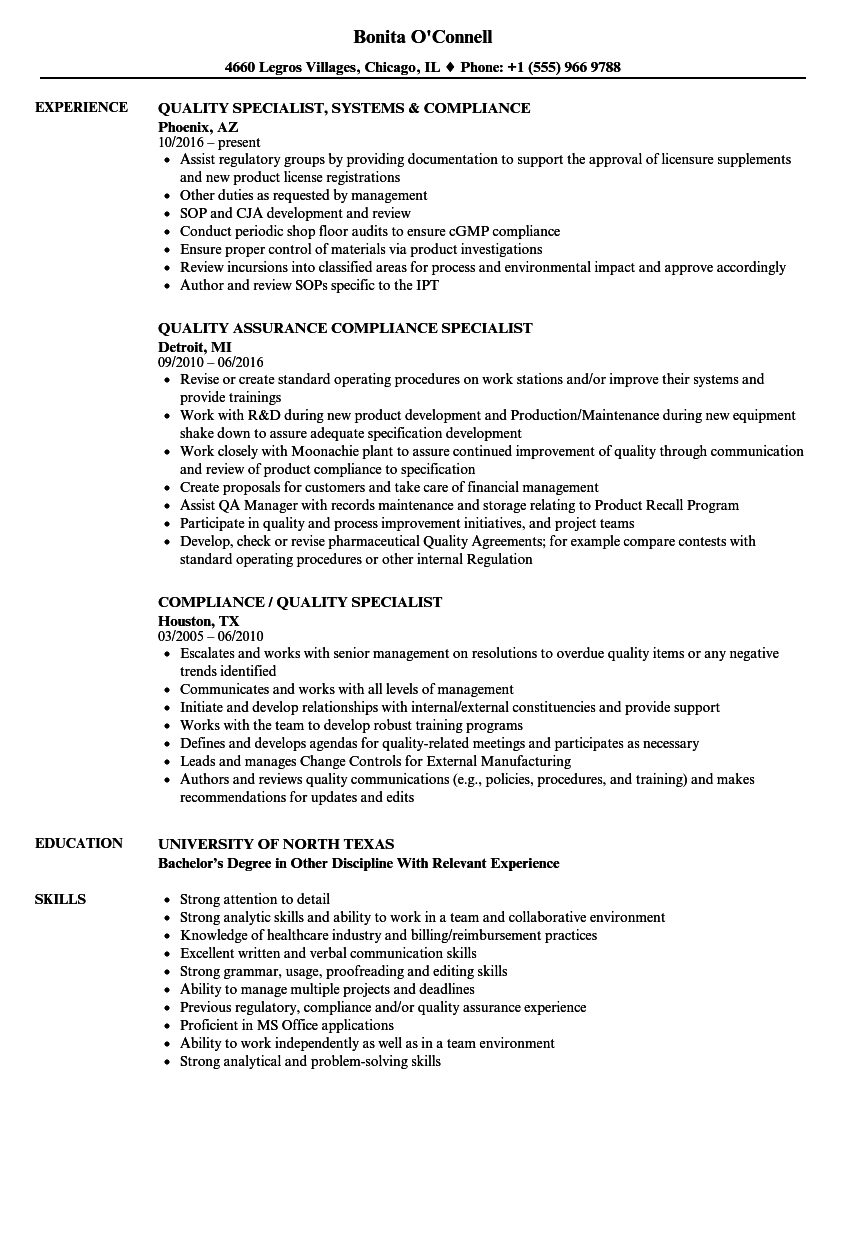 compliance    quality specialist resume samples