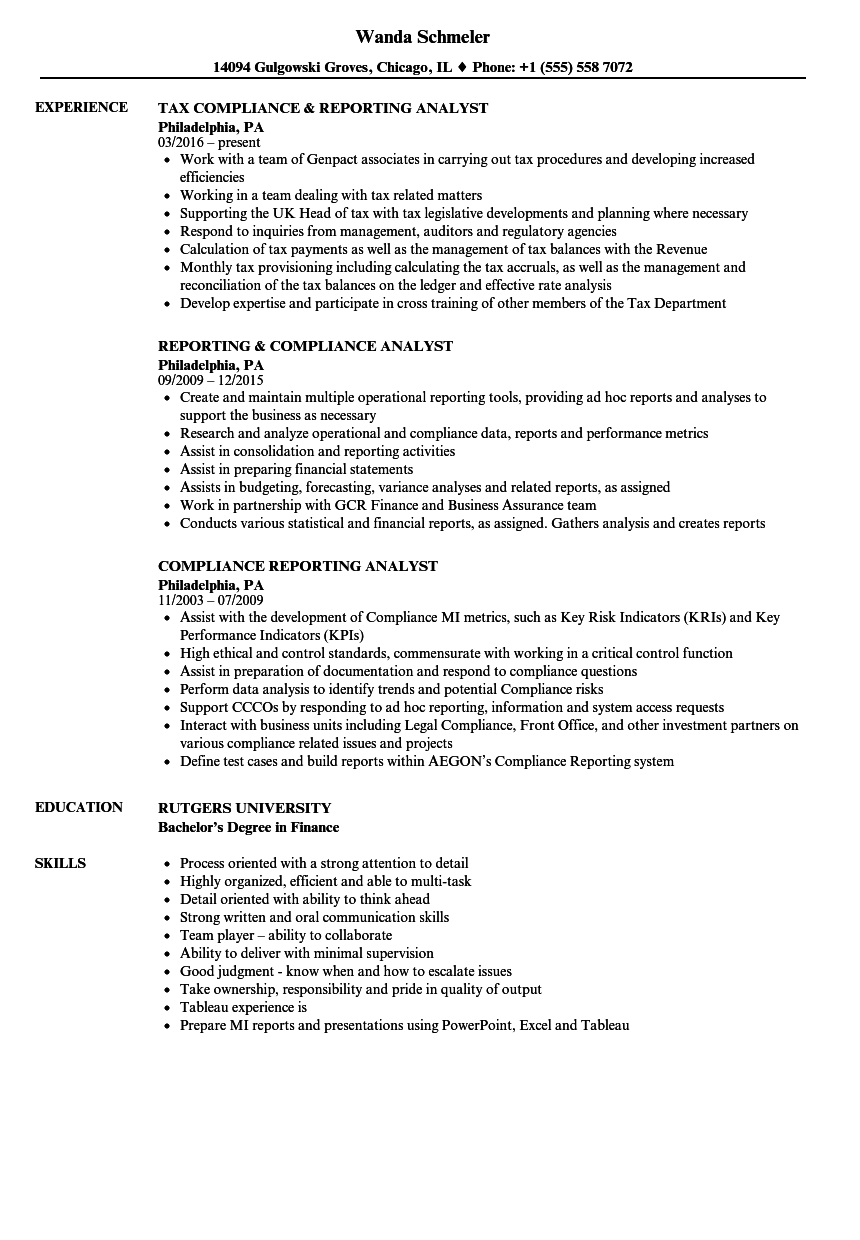 compliance reporting analyst resume samples