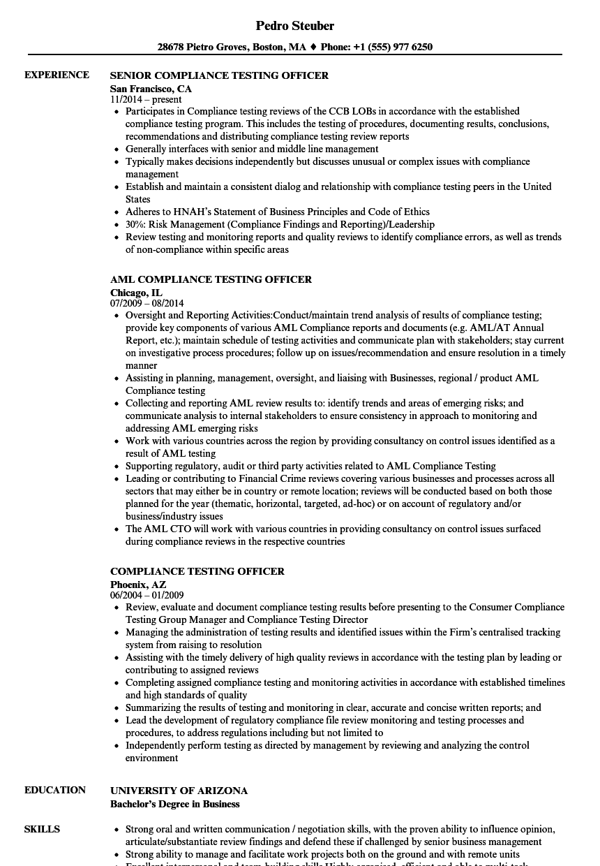 compliance testing officer resume samples