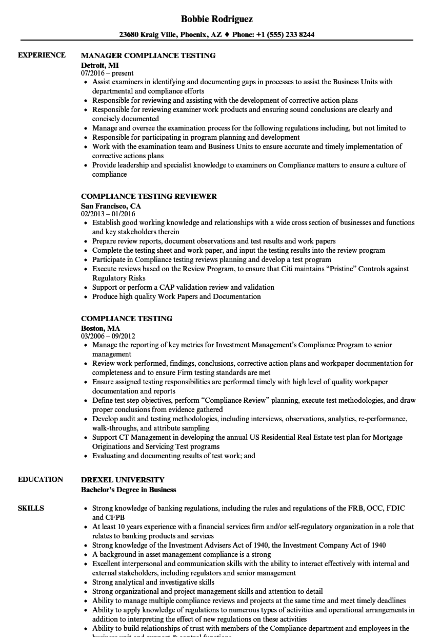 compliance testing resume samples