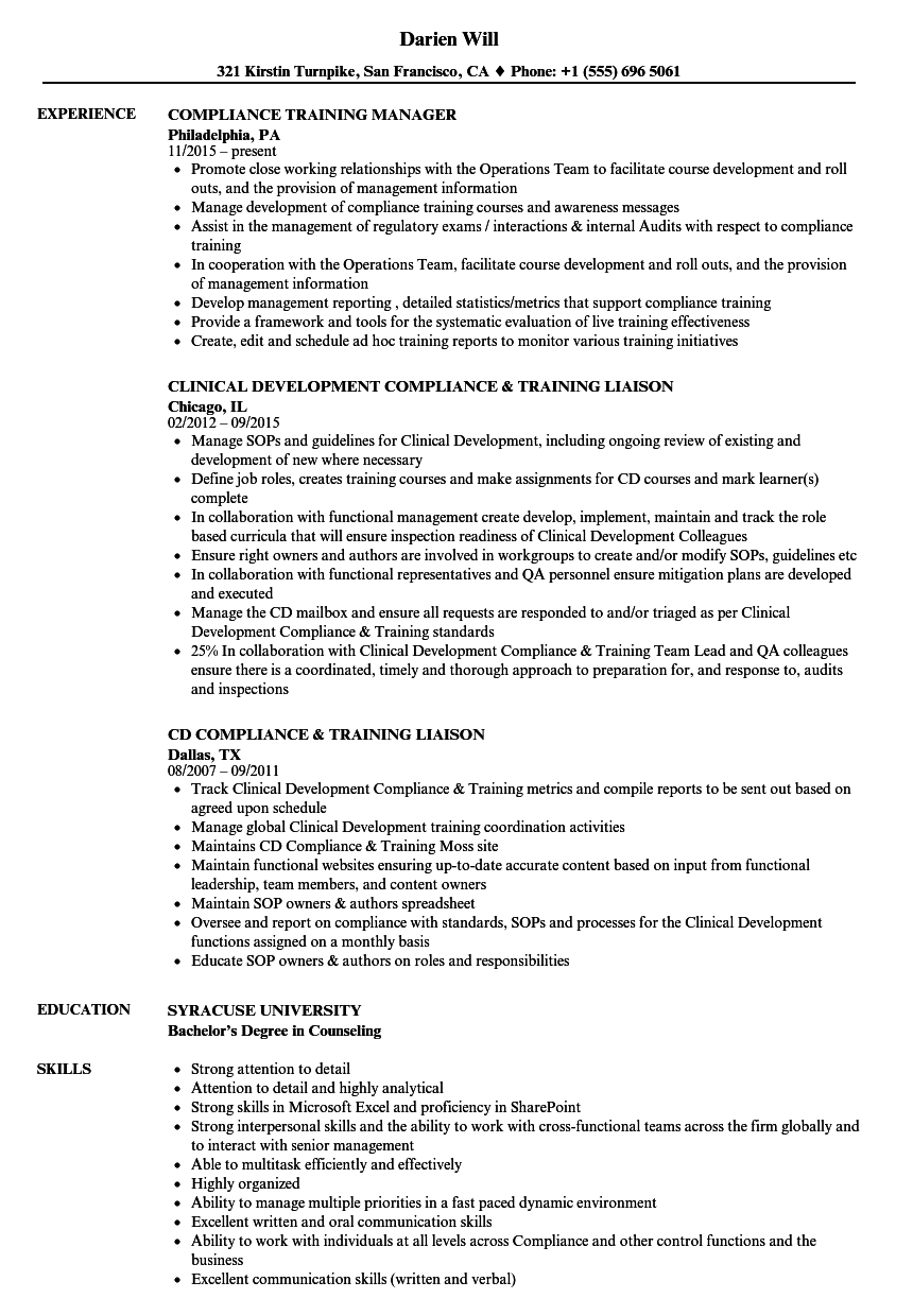 compliance training resume samples