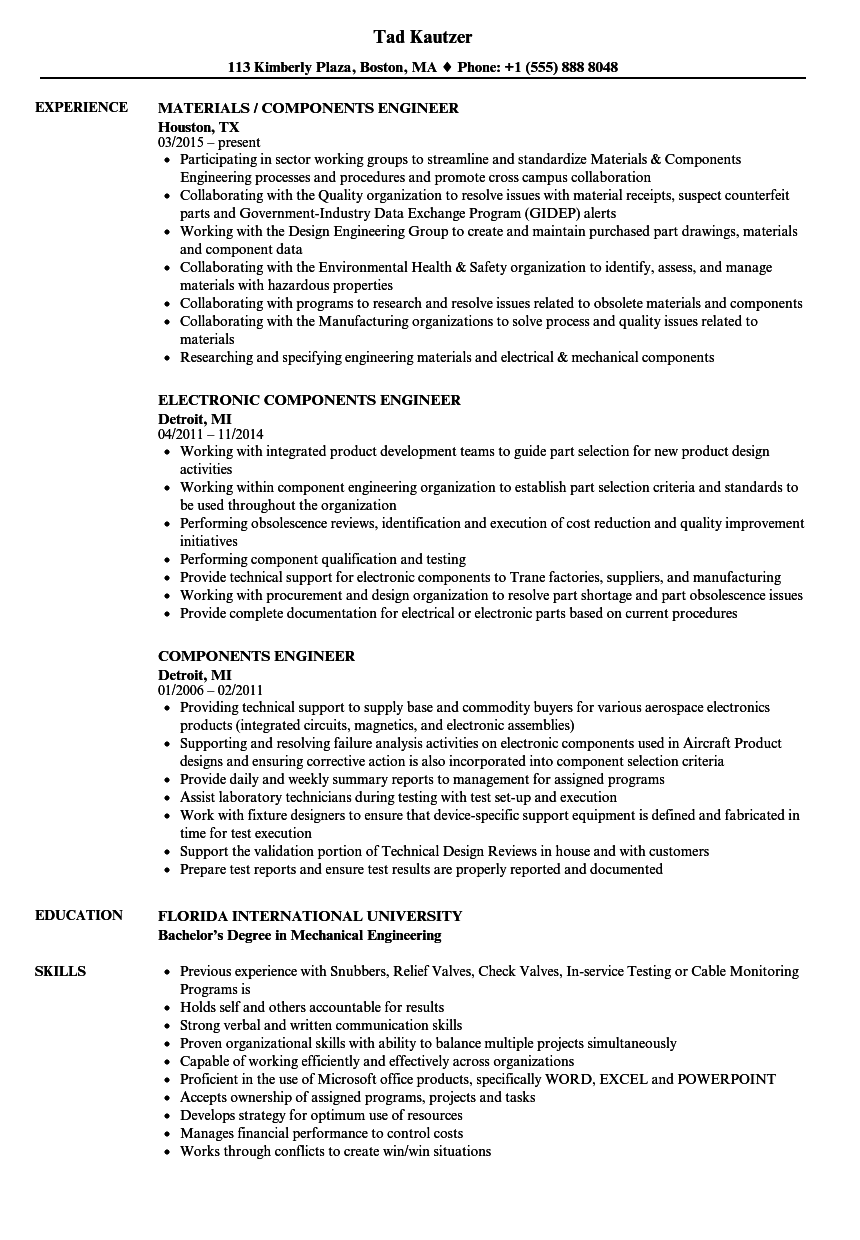 Components Engineer Resume Samples Velvet Jobs