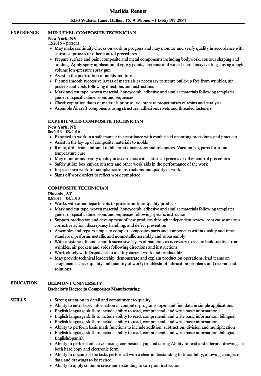 Composite Technician Resume Samples Velvet Jobs