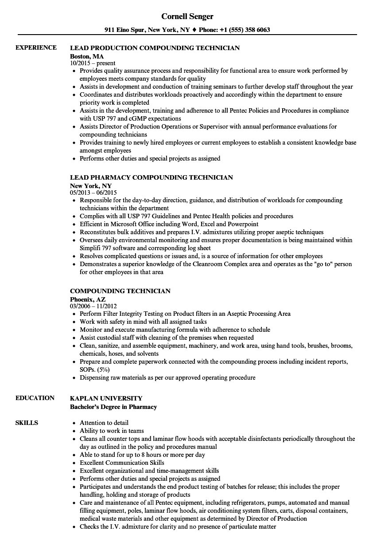 Compounding Resume Samples Velvet Jobs