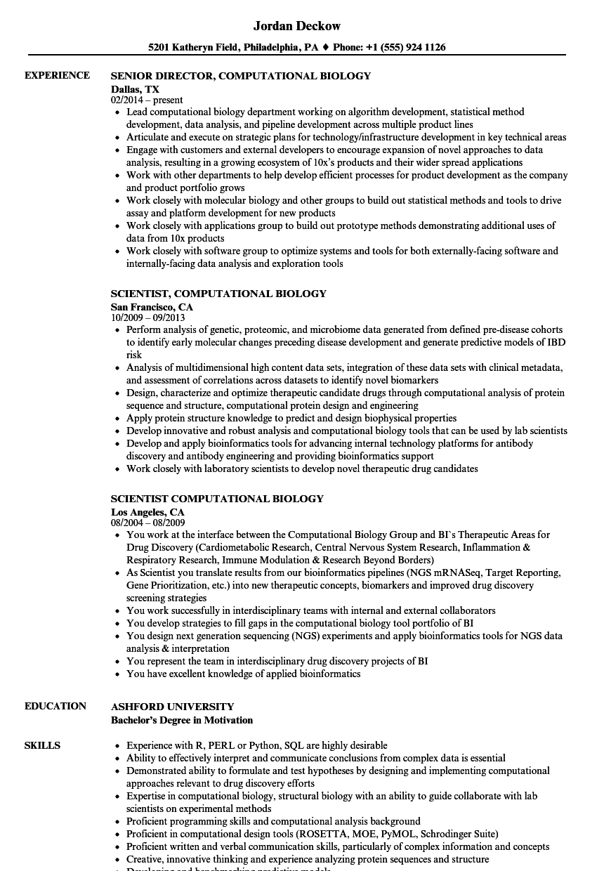 Computational Biology Resume Samples Velvet Jobs