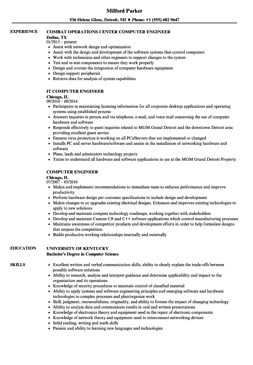 resume example for freshers computer engineers