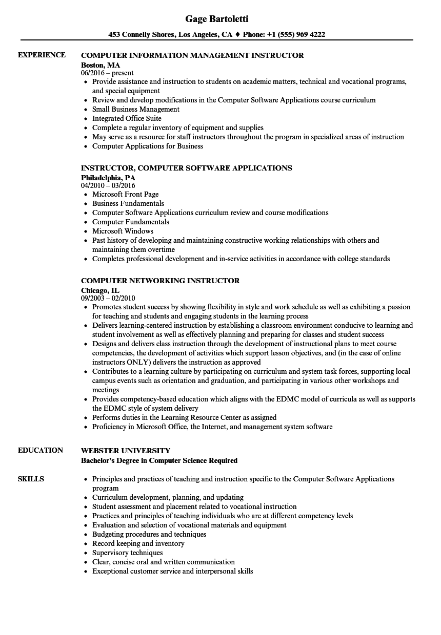 Computer Instructor Resume Samples Velvet Jobs