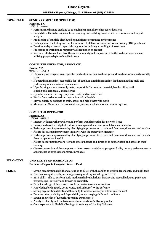 Job Application Letter Computer Operator