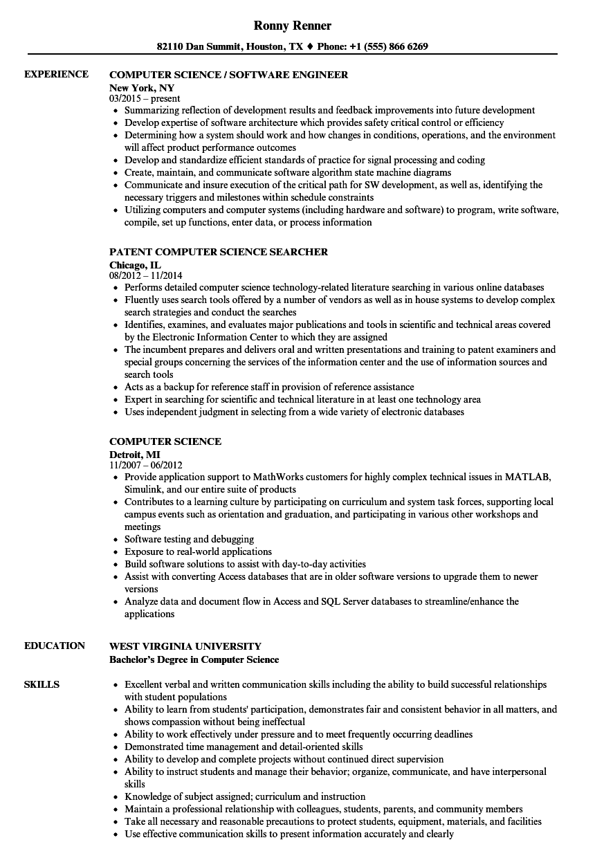 Computer Science Resume Samples Velvet Jobs