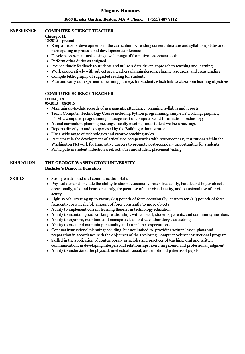 computer science teacher resume samples velvet jobs
