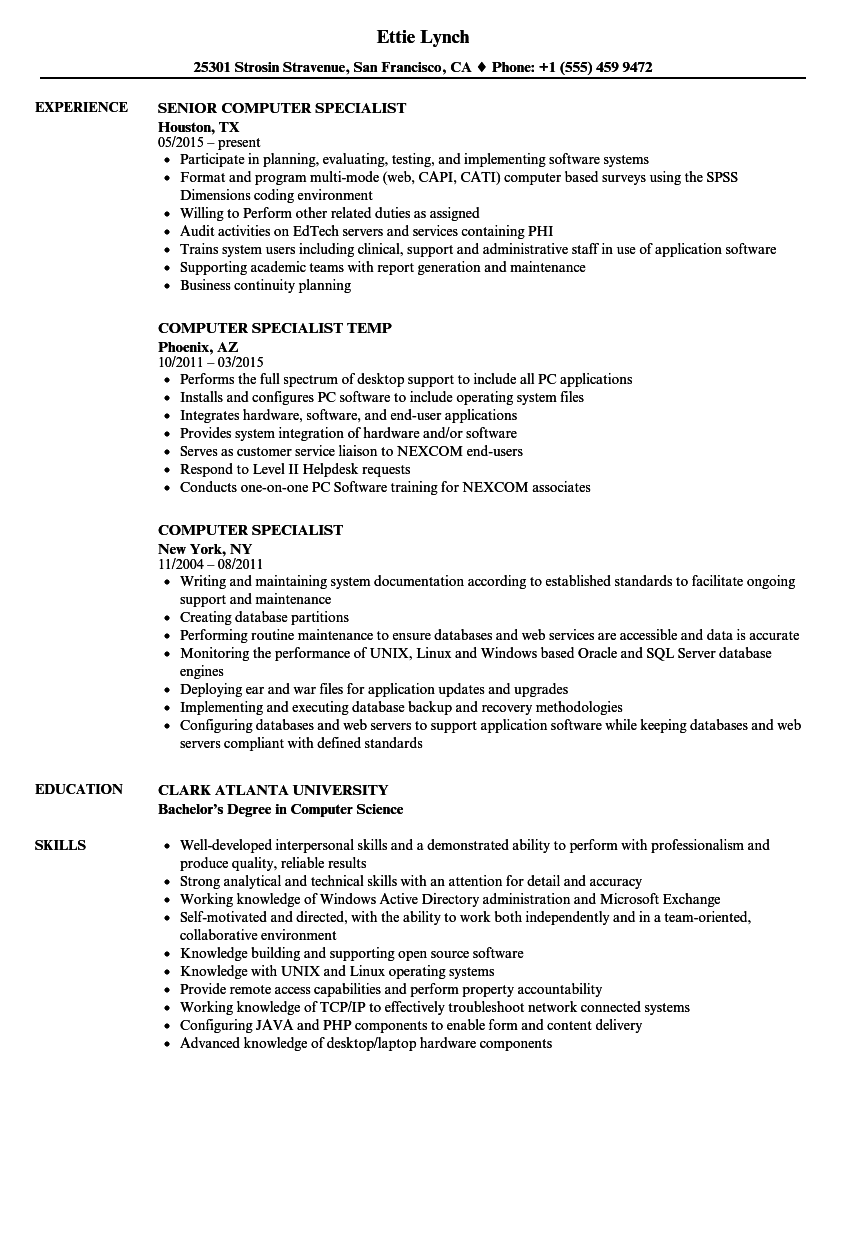 download computer specialist resume sample as image file - Resume Computer Science Degree