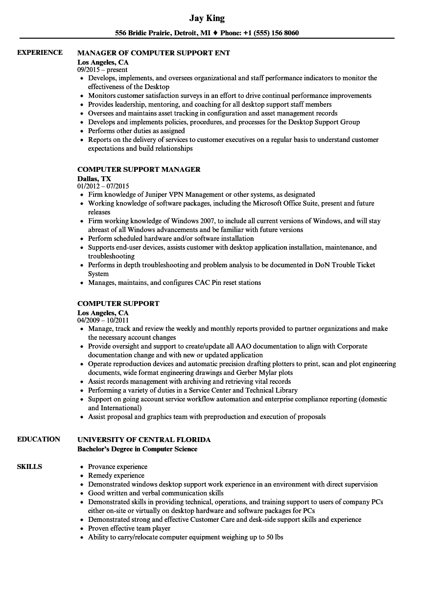 computer support resume samples