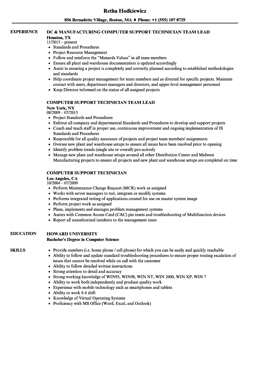 computer support technician resume samples