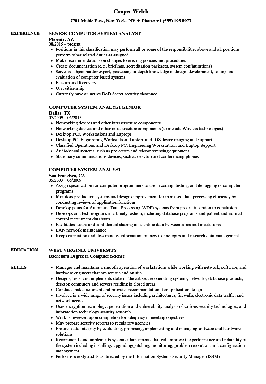 Computer System Analyst Resume Samples | Velvet Jobs
