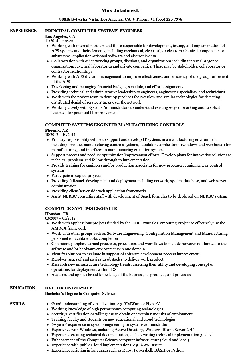 computer systems engineer resume samples