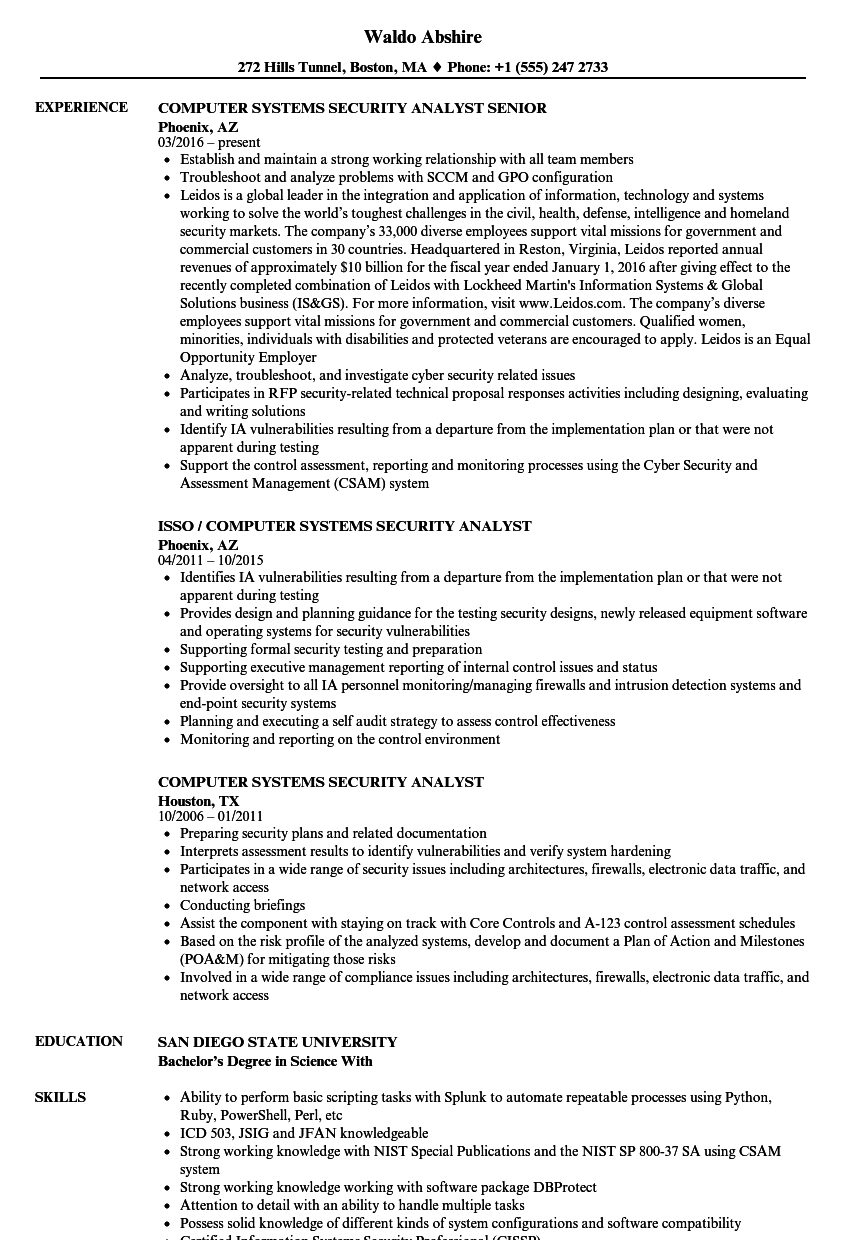 computer systems security analyst resume samples  velvet jobs