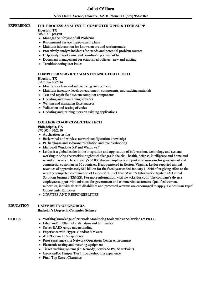 computer tech resume samples