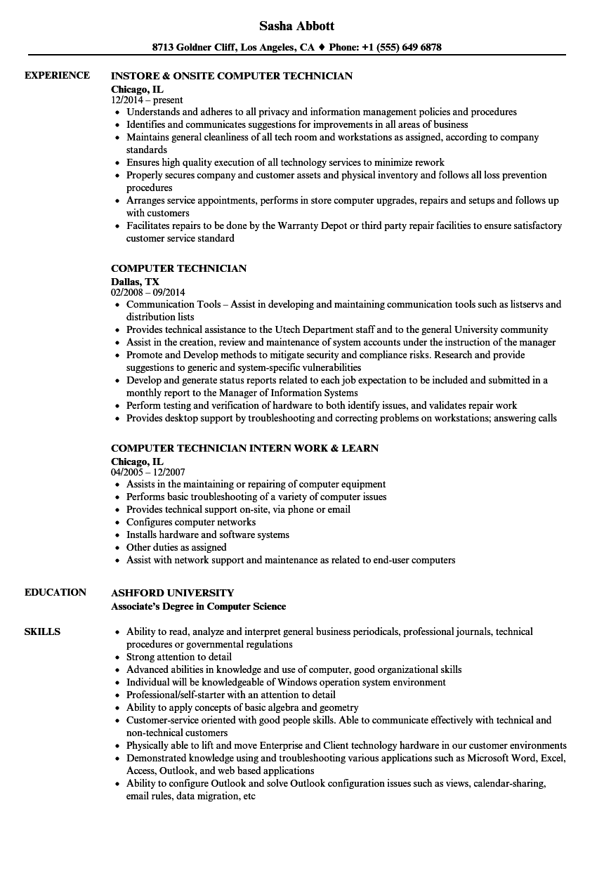 Download Computer Technician Resume Sample As Image File