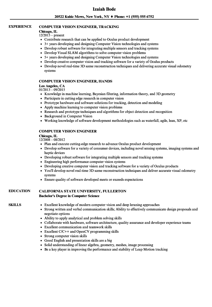 Computer Vision Engineer Resume Samples Velvet Jobs