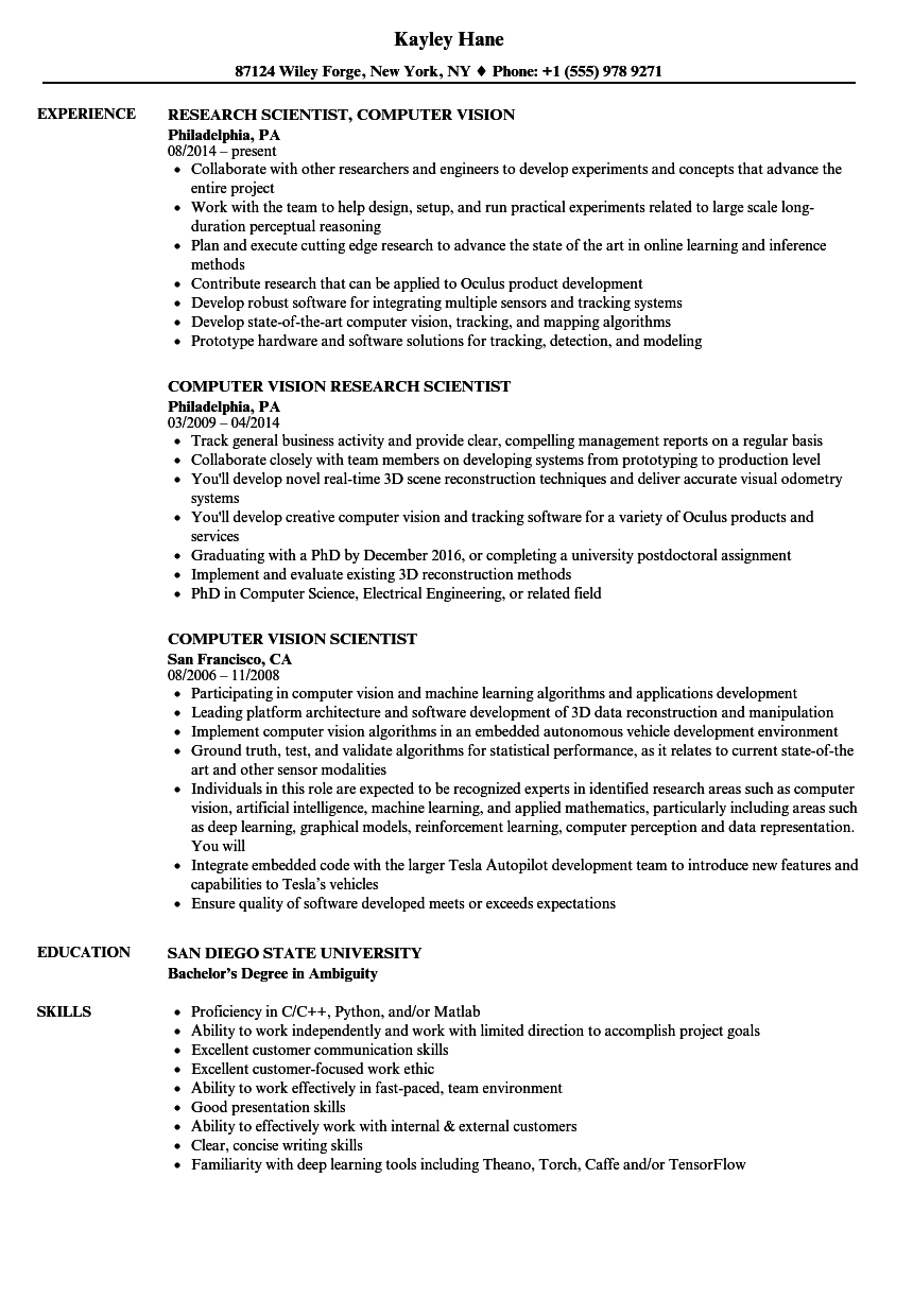 download computer vision scientist resume sample as image file