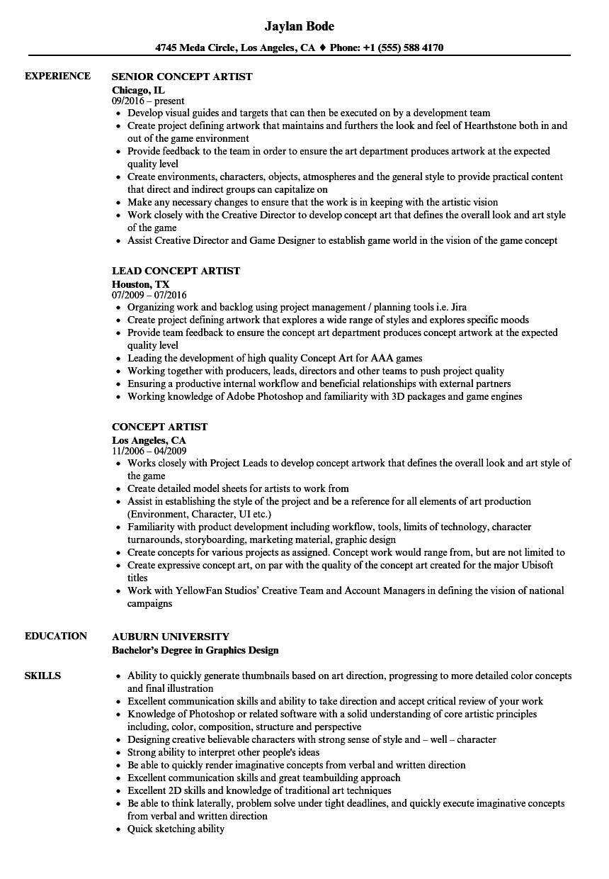 Download Concept Artist Resume Sample As Image File  Artist Resume Samples