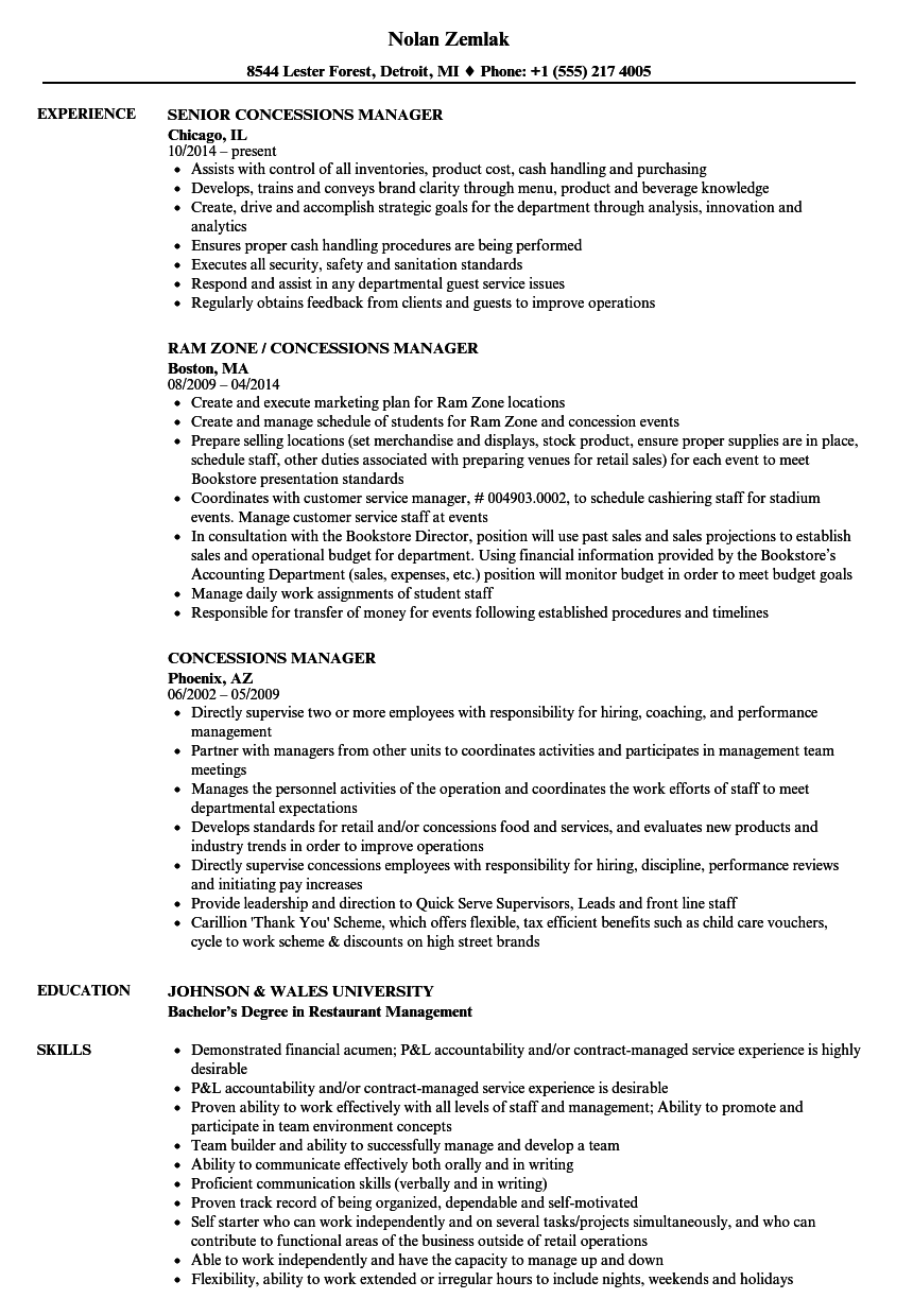 concessions manager resume samples