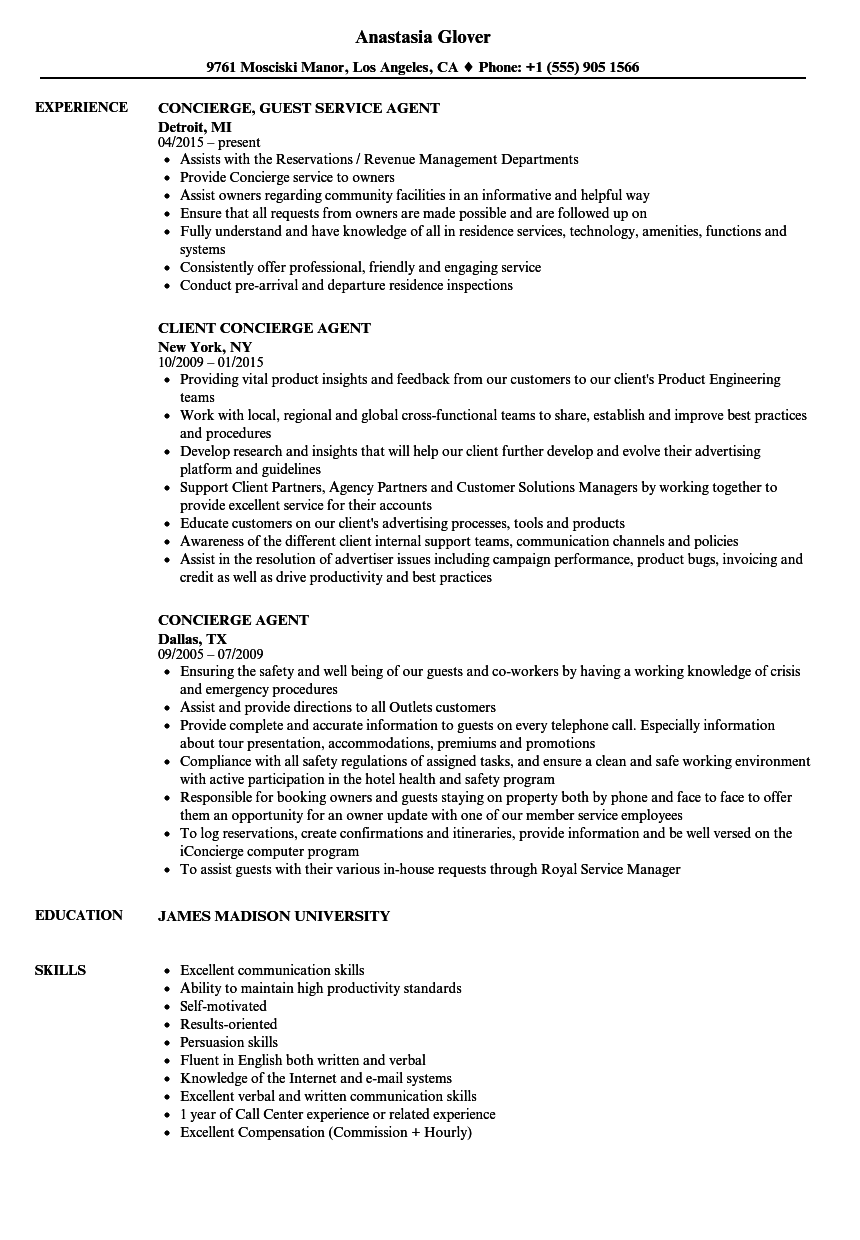 Concierge Agent Resume Samples | Velvet Jobs