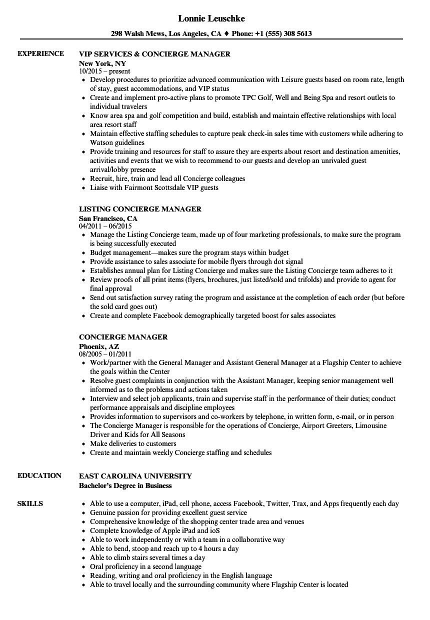 Concierge Manager Resume Samples | Velvet Jobs