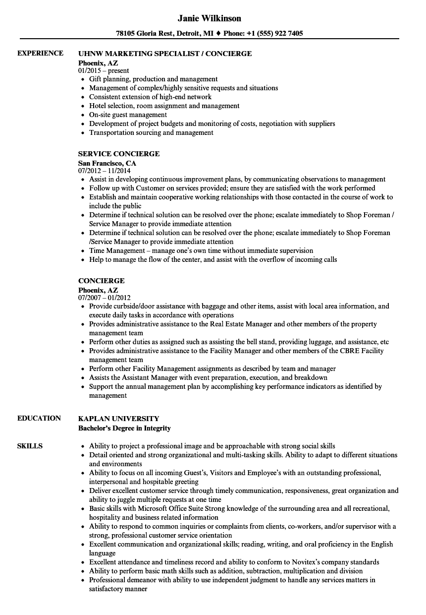 Concierge Resume Samples Velvet Jobs