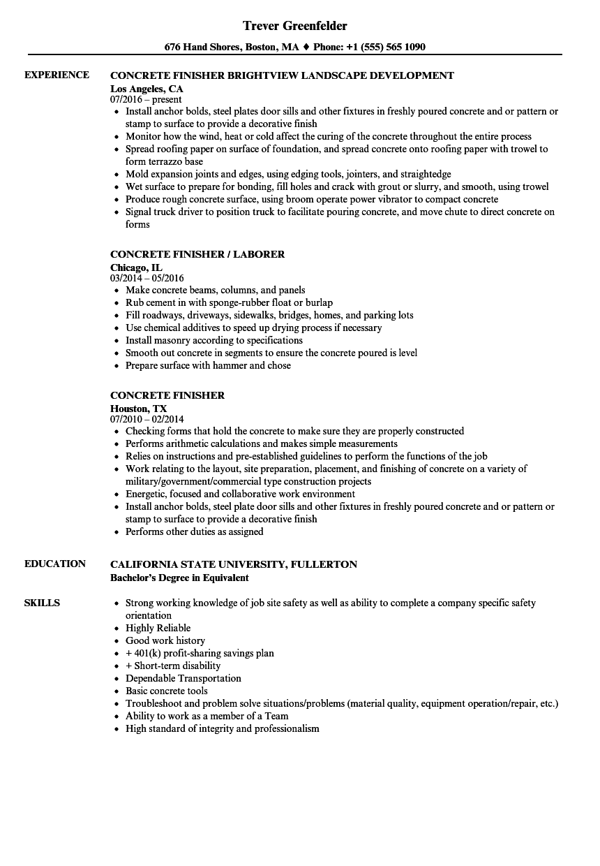Download Concrete Finisher Resume Sample As Image File