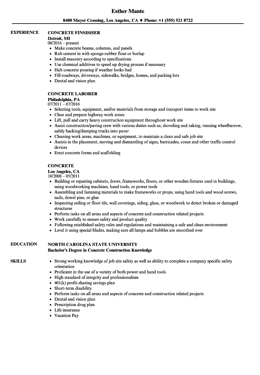 Download Concrete Resume Sample As Image File