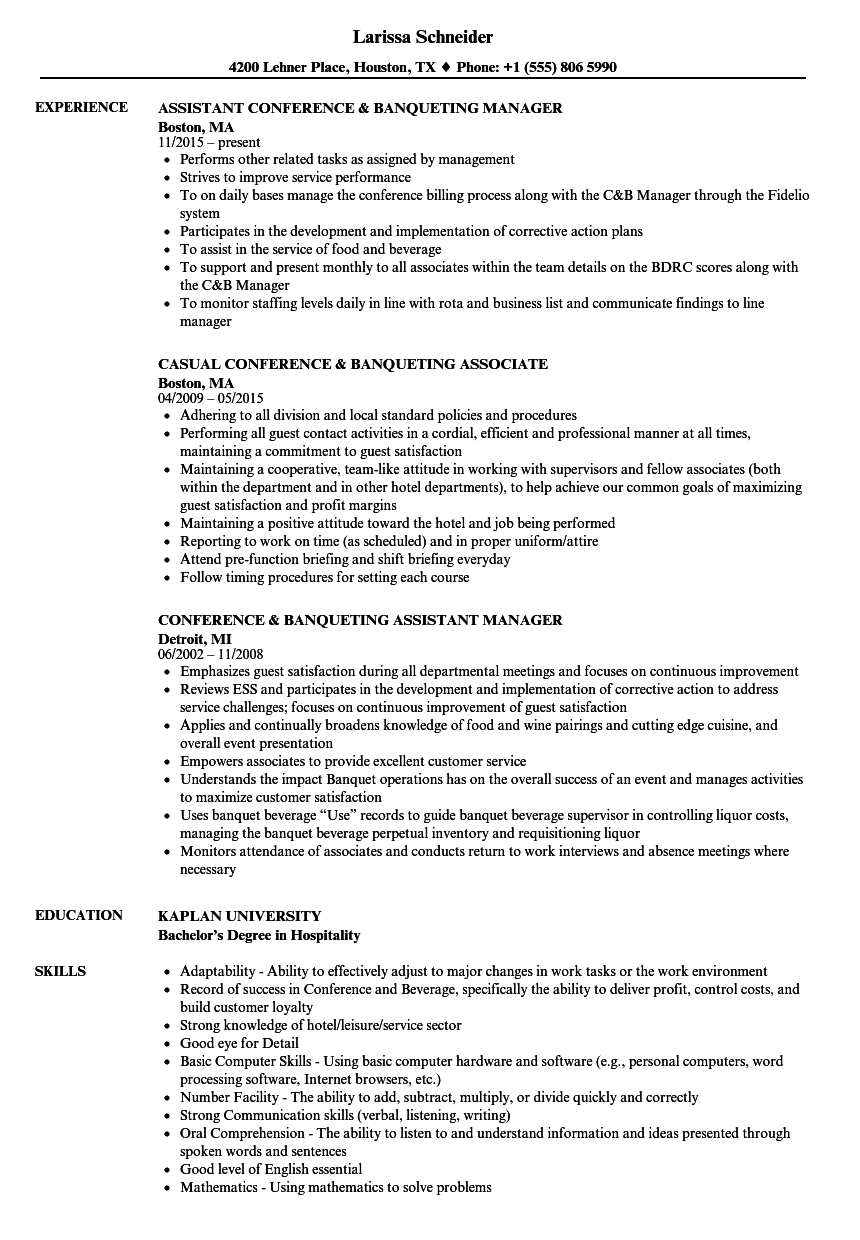 conference  u0026 banqueting resume samples