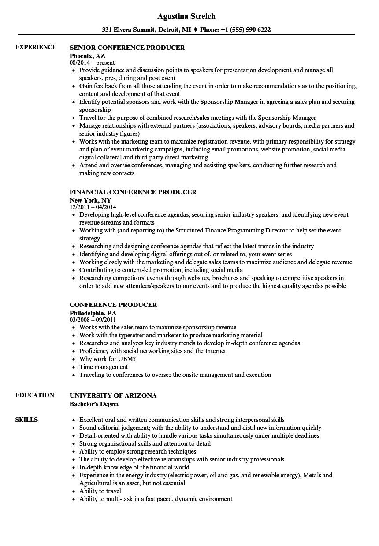 conference producer resume samples