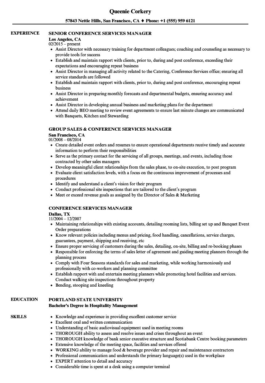 Conference Services Manager Resume Samples | Velvet Jobs