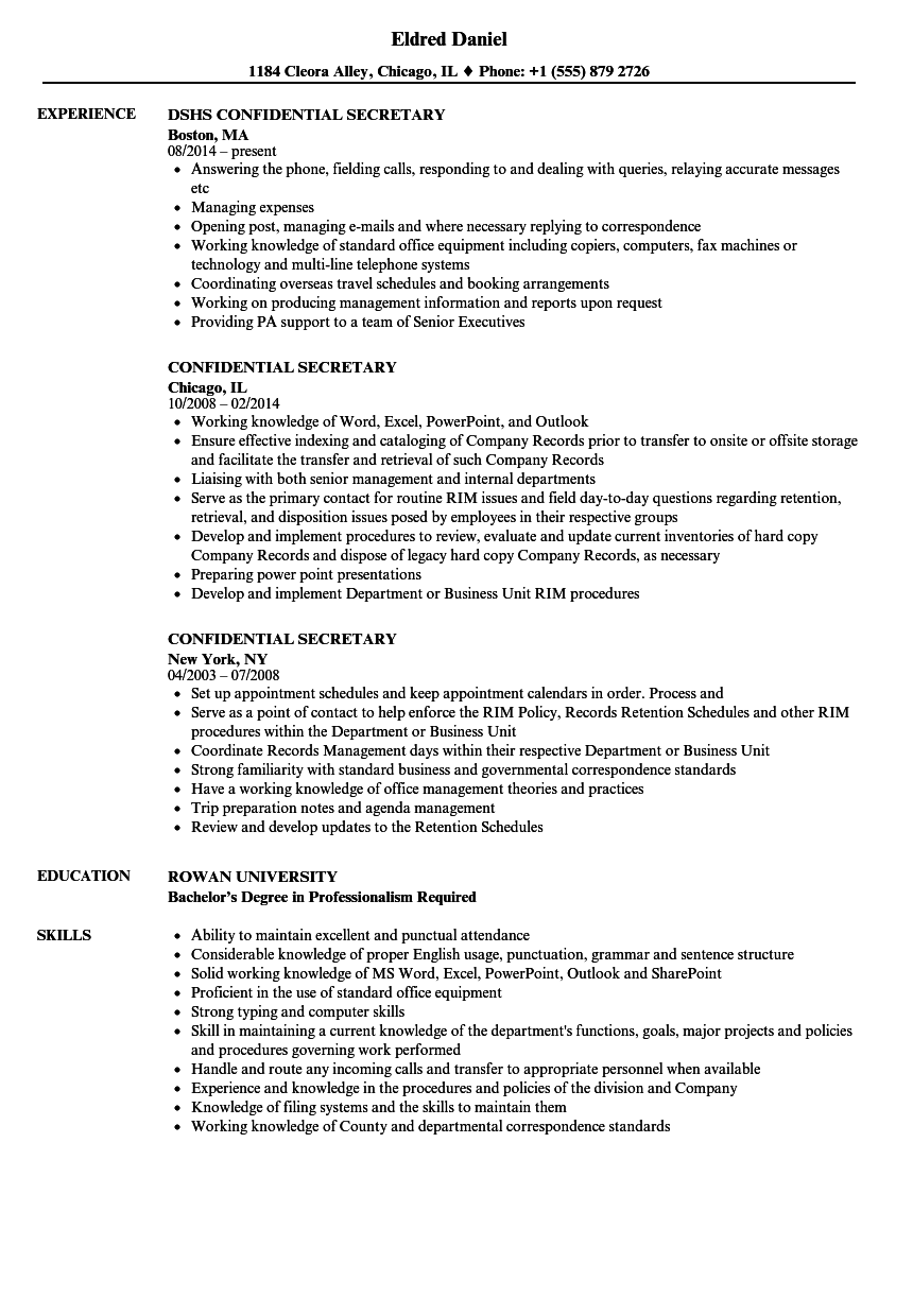 confidential secretary resume samples velvet jobs