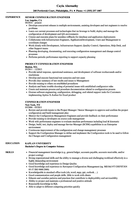 Configuration Engineer Resume Samples | Velvet Jobs