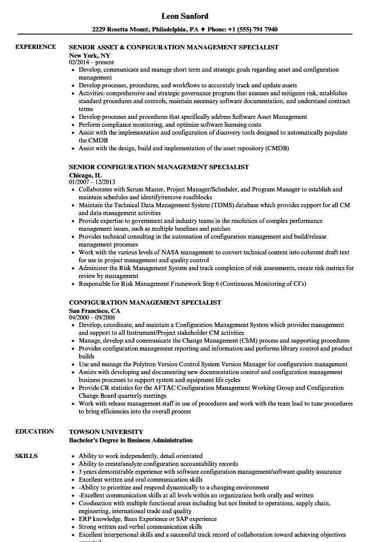 configuration management specialist resume samples velvet jobs