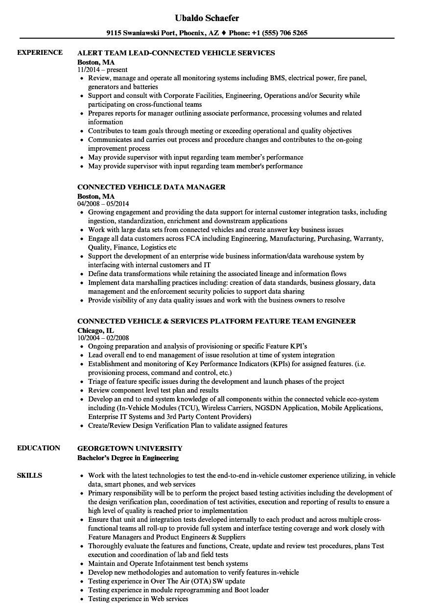 Connected Vehicle Resume Samples | Velvet Jobs