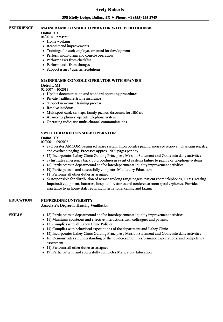 Download Console Operator Resume Sample As Image File