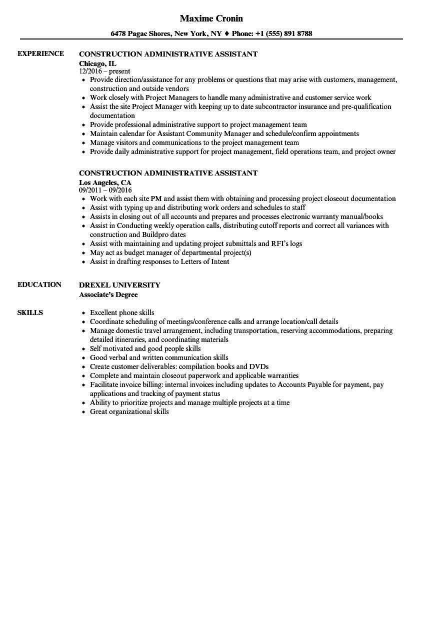 Construction Administrative Assistant Resume Samples | Velvet Jobs